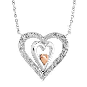 Reversible Heart Necklace with Diamonds