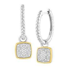 1/5 ct Diamond Drop Hoop Earrings