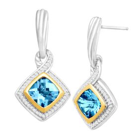 3 1/3 ct Swiss Blue Topaz & 1/4 ct Diamond Earrings