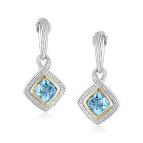 Swiss Blue Topaz & 1/4 ct Diamond Drop Earrings