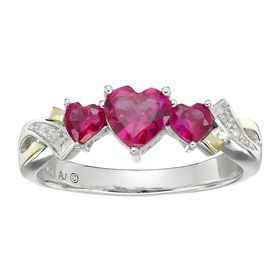 1 5/8 ct Heart-Cut Ruby Twist Ring with Diamonds