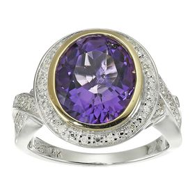 4 1/5 ct Amethyst & 1/10 ct Diamond Cocktail Ring