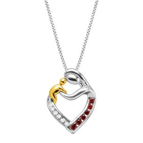 1/4 ct Garnet Mother & Child Pendant with Diamonds