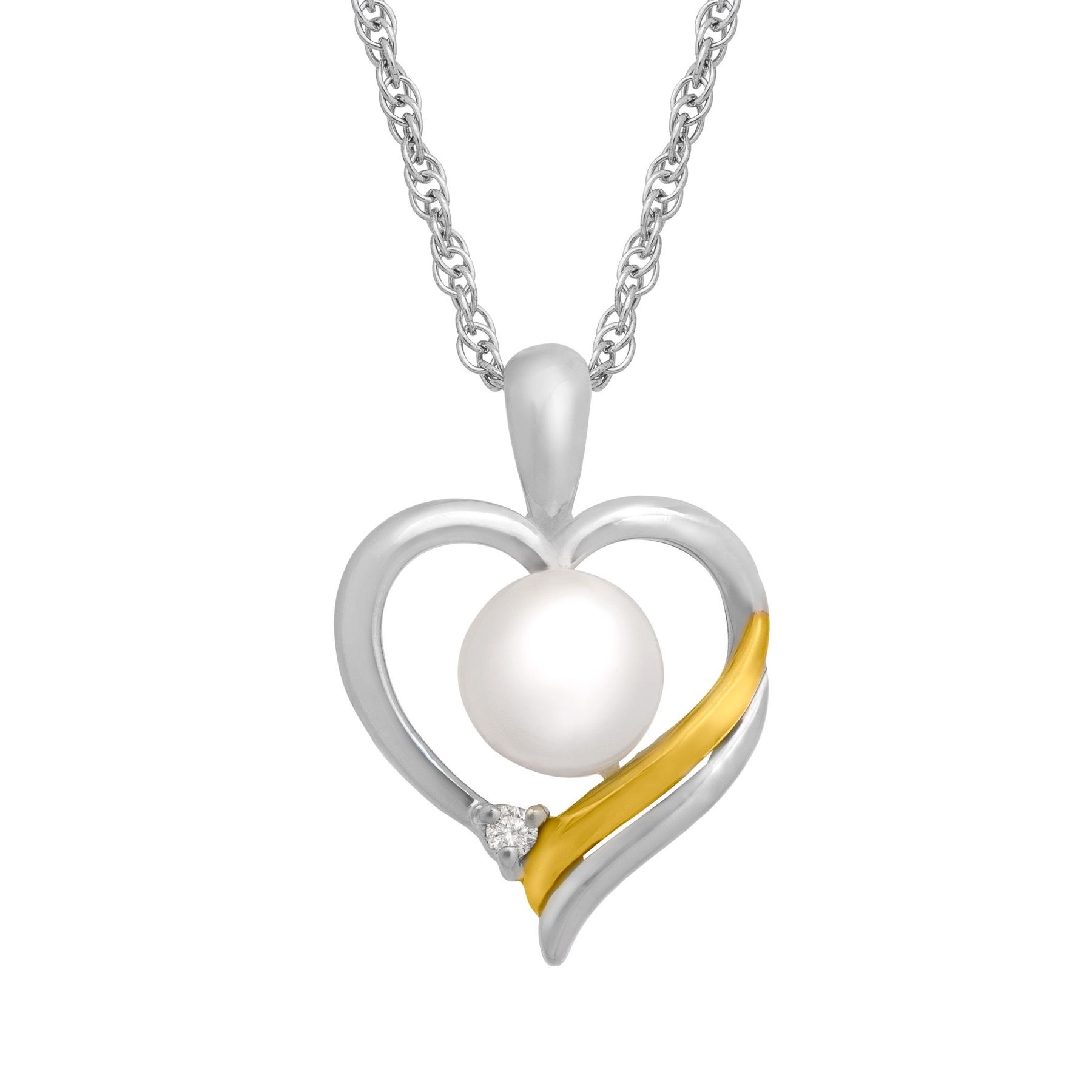 Freshwater pearl heart pendant in sterling sliver and 14k gold pearl heart pendant aloadofball Image collections