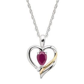 5/8 ct Ruby & 1/10 ct Diamond Two-Tone Open Heart Pendant