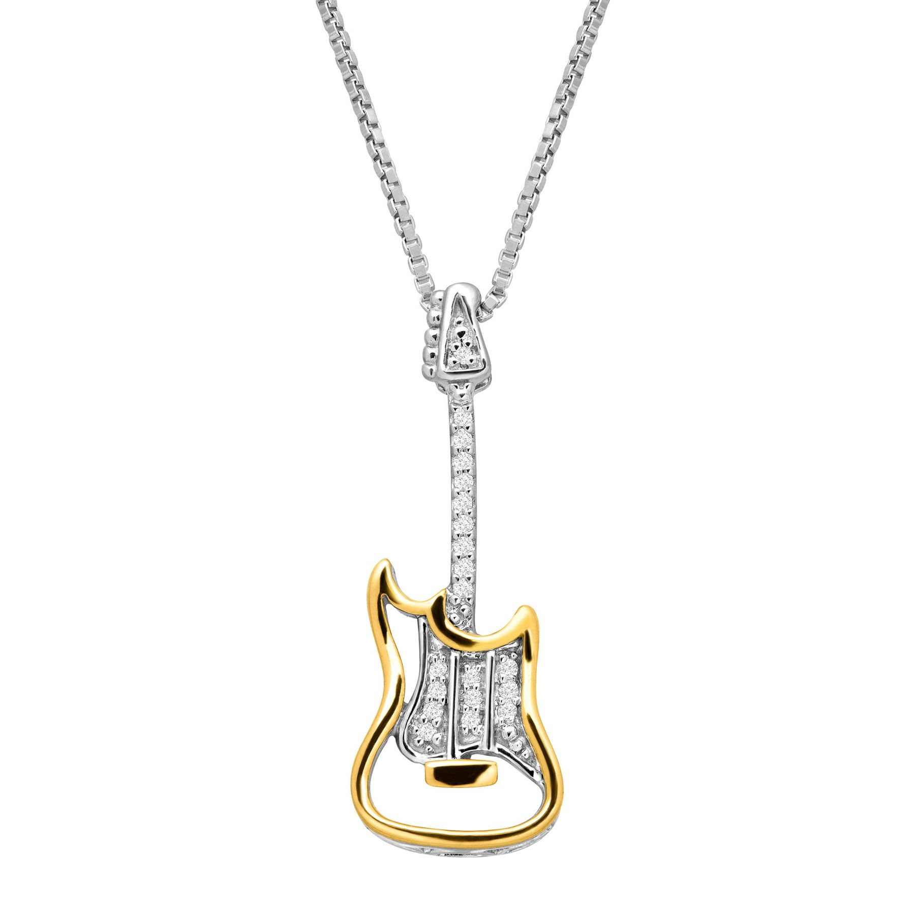 Electric guitar pendant with diamonds in sterling silver 14k gold electric guitar pendant with diamonds aloadofball Choice Image