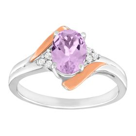 1 ct Pink Amethyst Ring with Diamonds