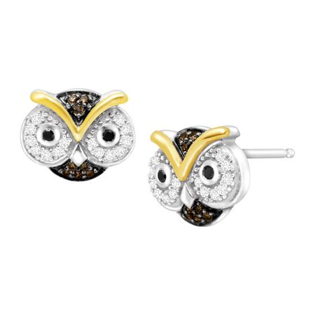 1 5 Ct Black White Champagne Diamond Owl Earrings