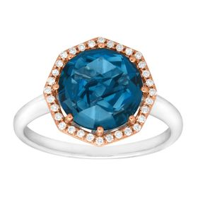 3 1/3 ct London Blue Topaz & 1/8 ct Diamond Ring