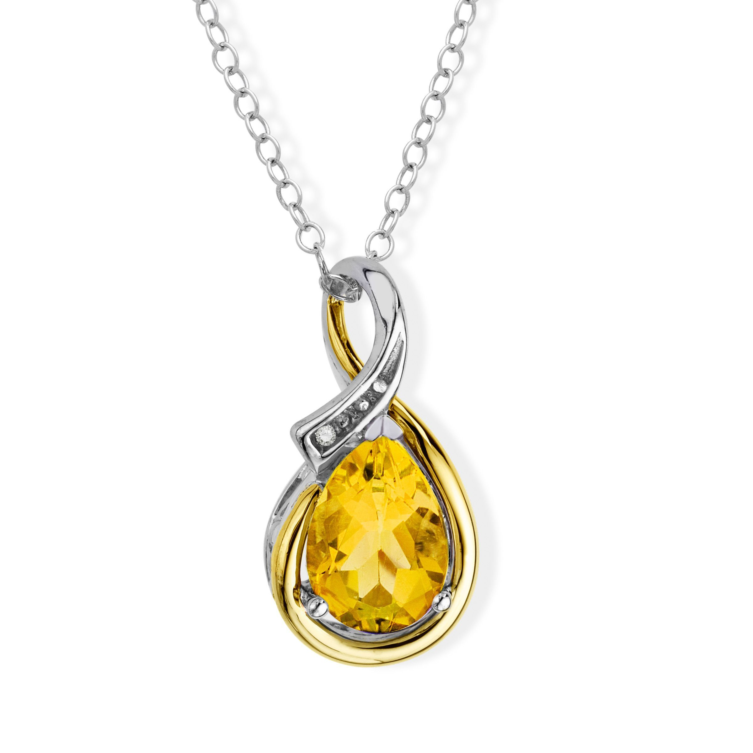 1 1//6 ct Created Sapphire Circle Pendant Diamonds in Sterling Silver /& 14KGold