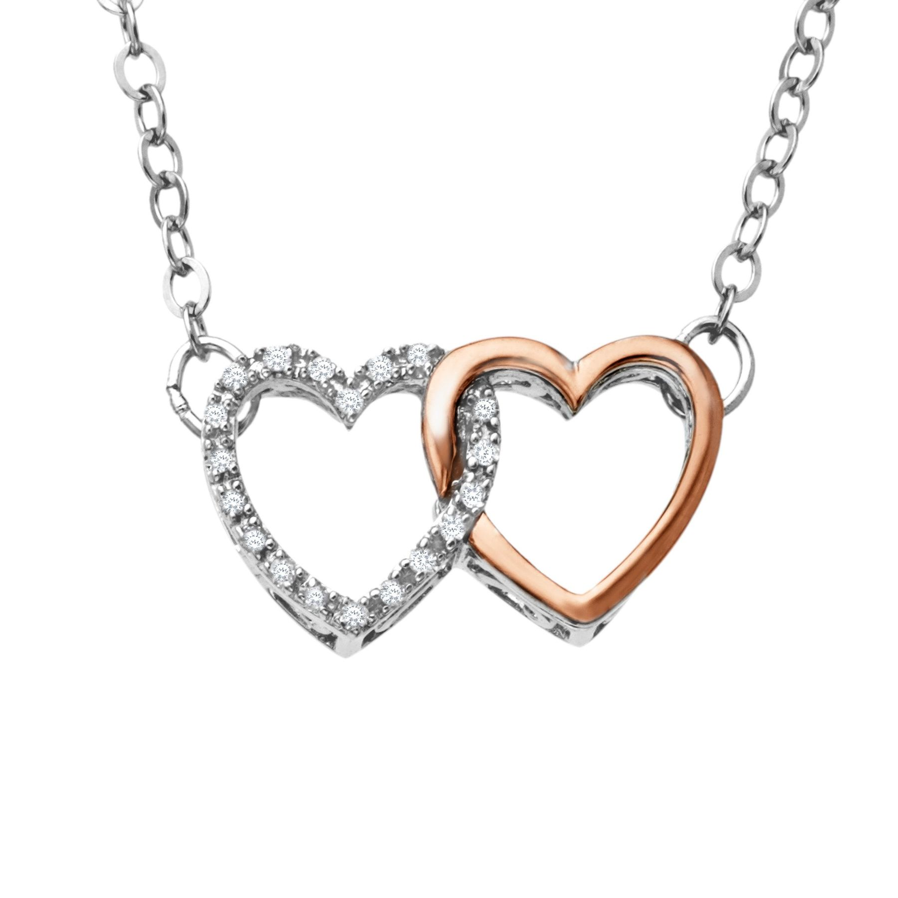 Finecraft Linking Heart Necklace with Diamonds Silver and Gold