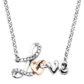'Love' Knot Necklace with Diamonds