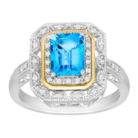 2 ct Swiss Blue Topaz & 1/8 ct Diamond Ring