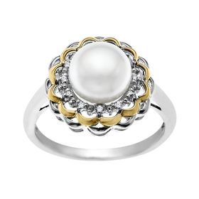Pearl Flower Ring with Diamonds