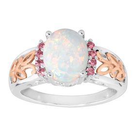 1 ct Opal & Pink Sapphire Two-Tone Filigree Ring