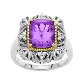 Amethyst Cushion Ring with Diamonds