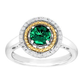 3/4 ct Emerald Halo Ring with Diamonds