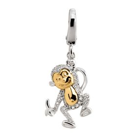 1/10 ct Diamond Two-Tone Monkey Charm