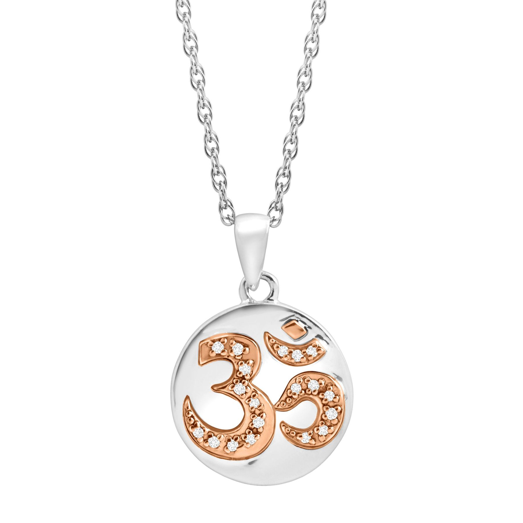 Om Symbol Pendant With Diamonds In Sterling Silver 14k Rose Gold