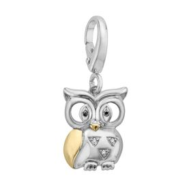 Owl Charm with Diamonds