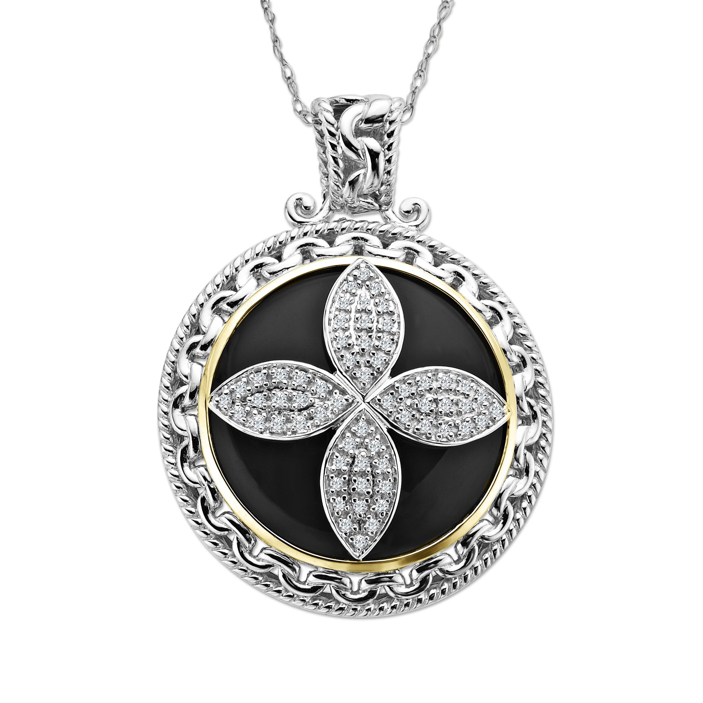 in sterling gold natural ct and silver onyx pendant itm medallion diamond