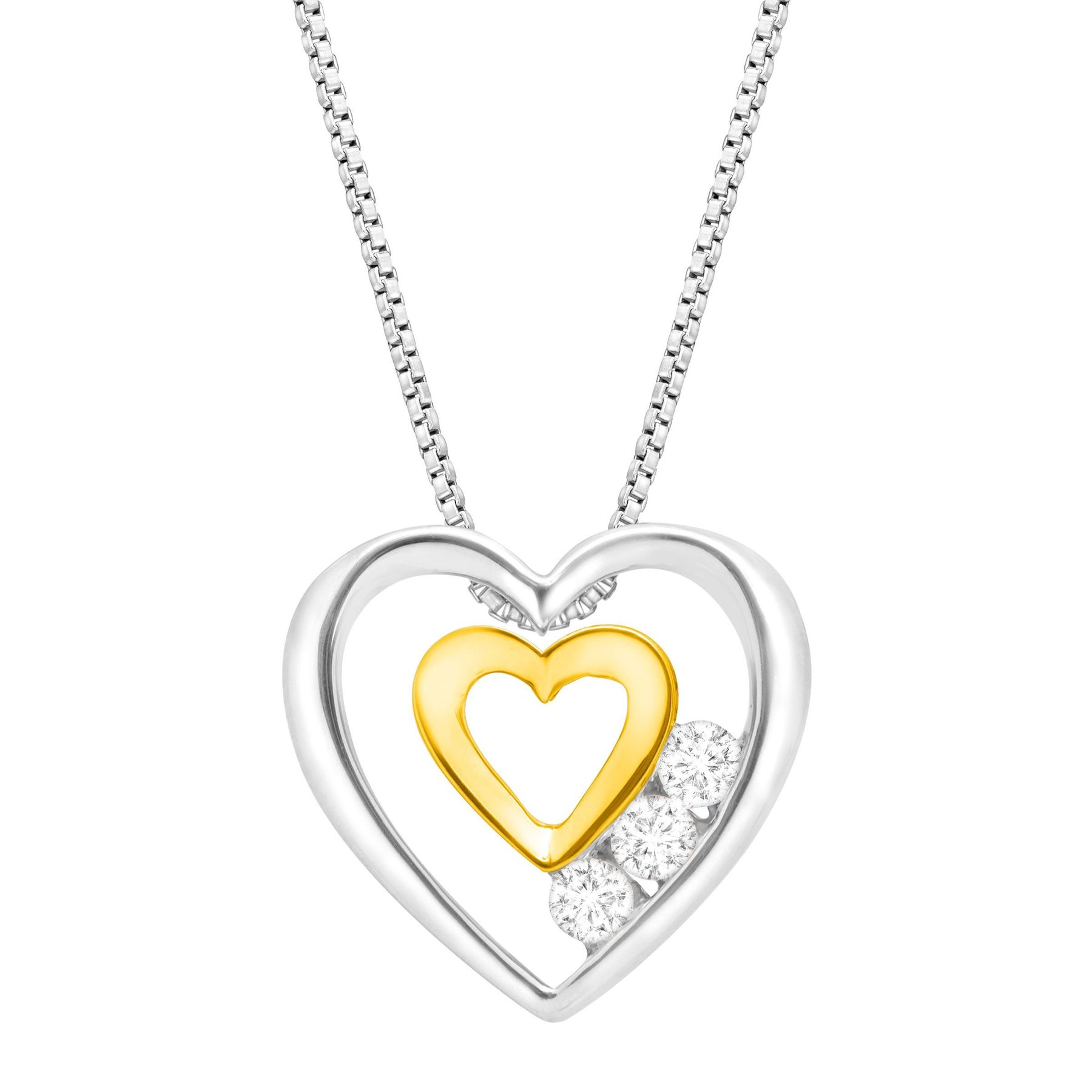 plated gold heart double neckalce pendant