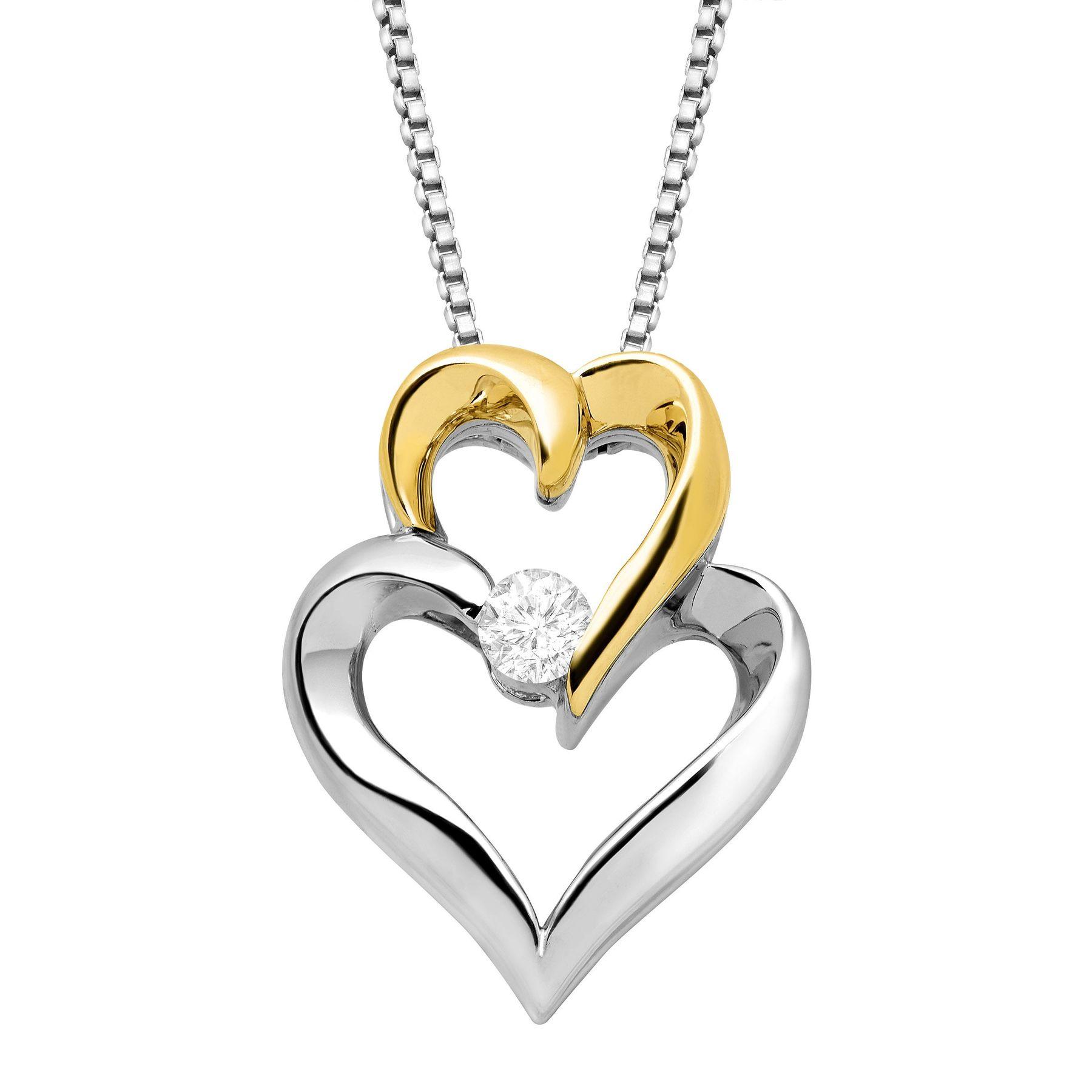 110 ct diamond interlocking hearts pendant in sterling silver 14k 110 ct diamond interlocking hearts pendant mozeypictures Images