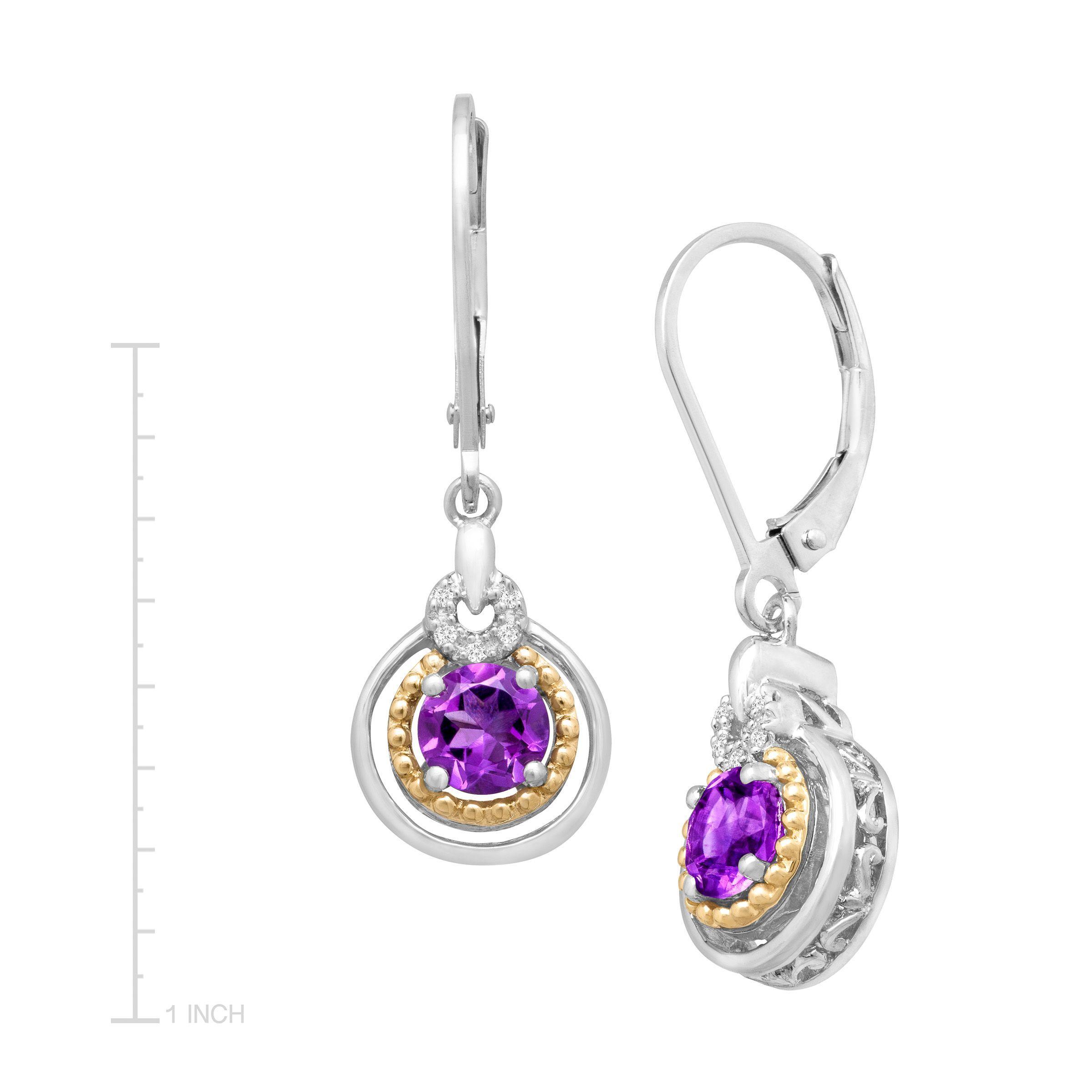 7 8 Ct Natural Amethyst Drop Earrings W Diamonds In Sterling Silver 14k Gold