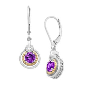 7/8 ct Amethyst Drop Earrings with Diamonds