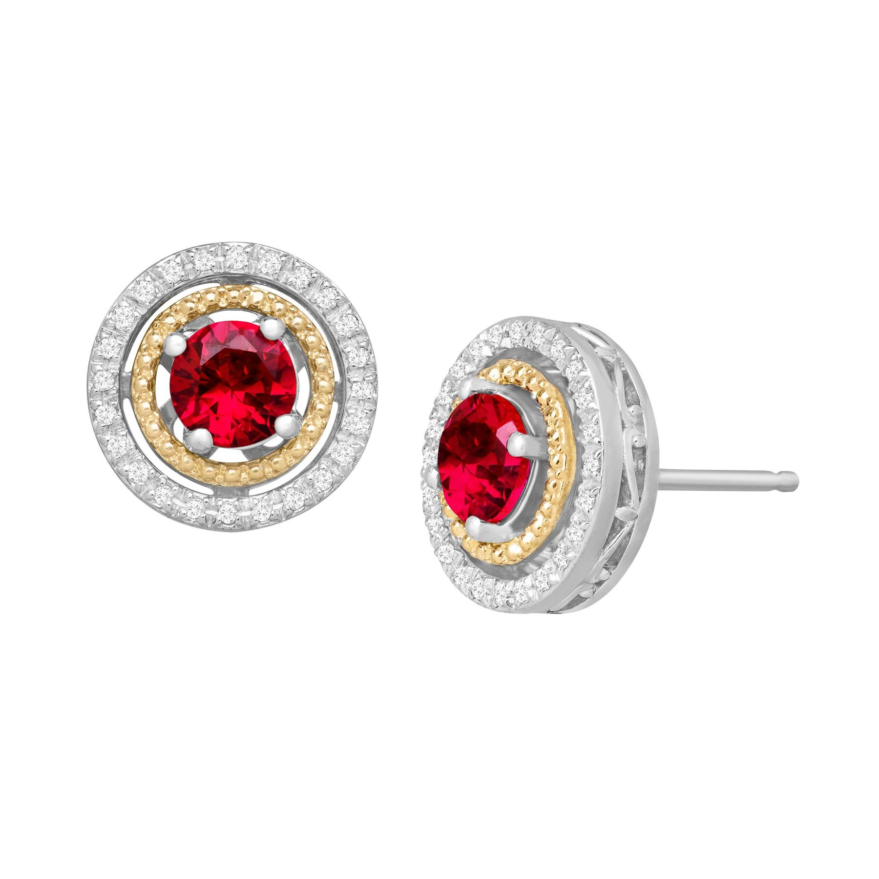 1 3 Ct Created Ruby 8 Diamond Stud Earrings