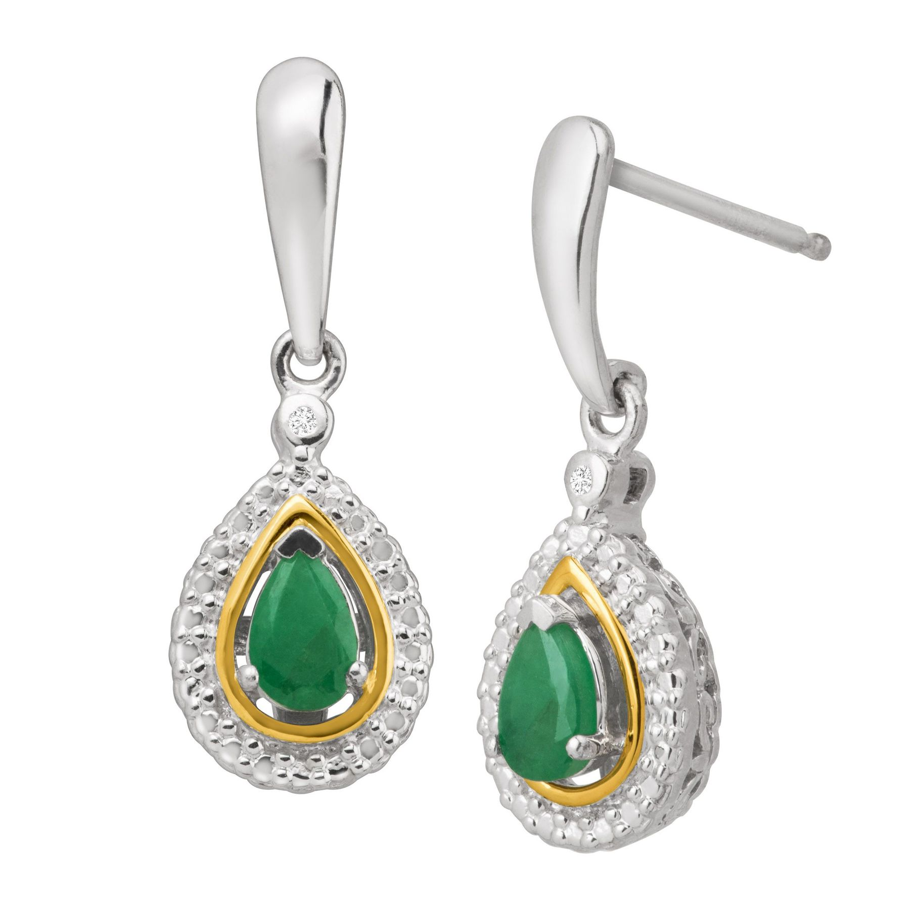 in natural earrings two and sterling silver drop emerald tone gold jewelry diamonds ct with