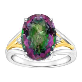 7 1/4 ct Green Mystic Topaz Ring with Diamonds