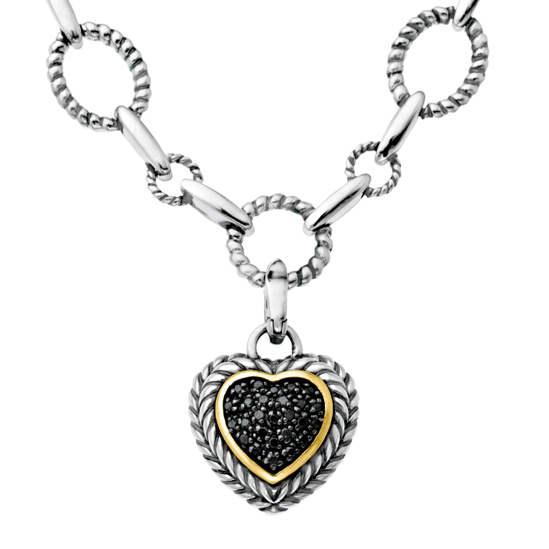 110 ct black diamond link heart necklace in sterling silver 14k 110 ct black diamond heart aloadofball Images