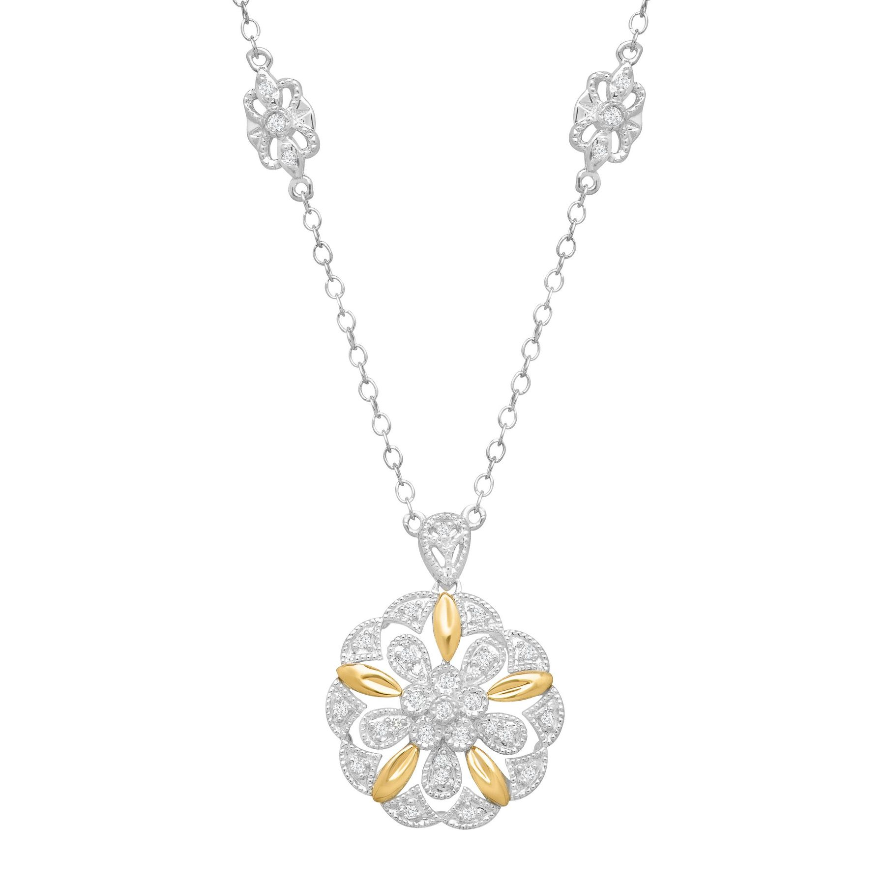 15 ct diamond filigree flower pendant in sterling silver 14k gold 15 ct diamond flower medallion necklace aloadofball Image collections