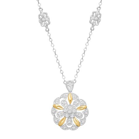 15 ct diamond filigree flower pendant in sterling silver 14k 15 ct diamond flower medallion necklace aloadofball Choice Image