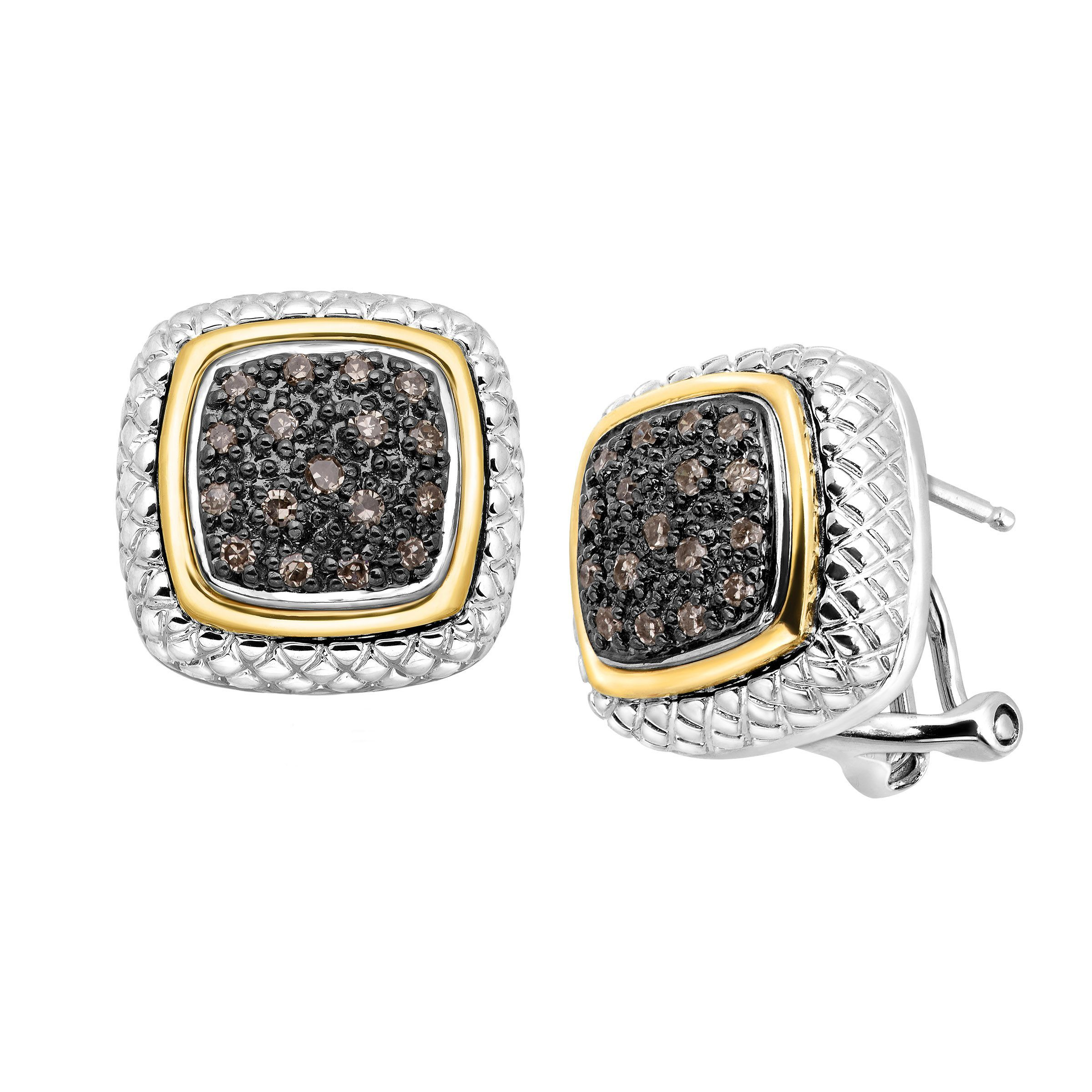 itm champagne ct paveacute diamond earrings and pav eacute gold frame silver sterling in