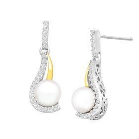 Pearl Drop Earrings with 1/8 ct Diamonds