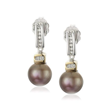 Two-Tone Chocolate Pearl Earrings with Diamonds
