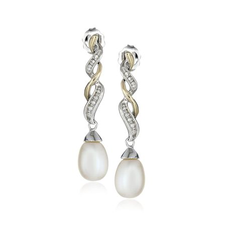 Two-Tone Pearl Twist Earrings with Diamonds