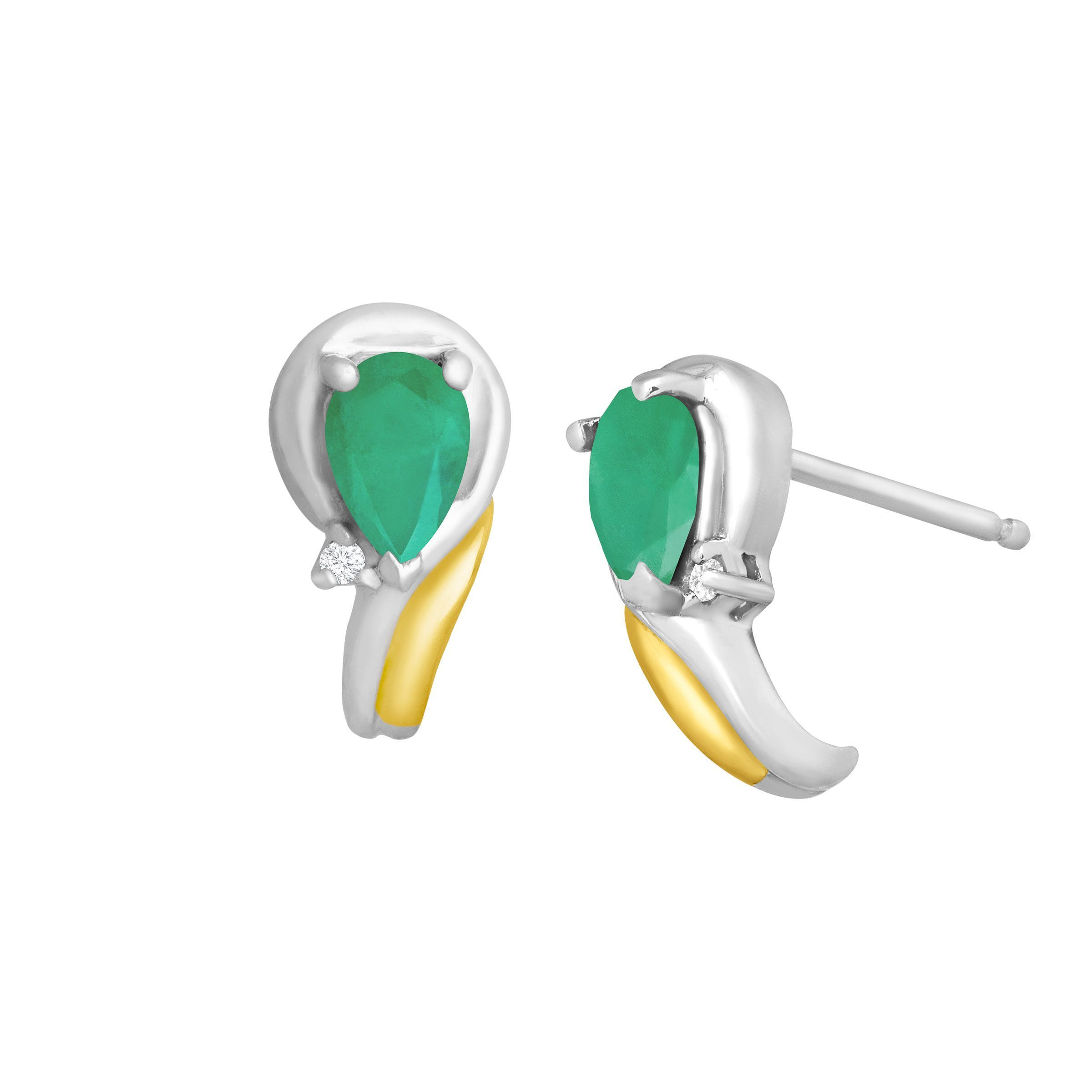 gold earrings product natural emerald with front jewelry shot diamond baikalla