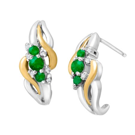 3/8 ct Emerald Half-Hoop Earrings with Diamonds