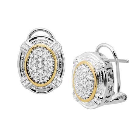 ab1e3a6fc8331 1/4 ct Diamond Oval Stud Earrings in Sterling Silver & 14K Gold