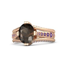 Oval Smoky Quartz 14K Rose Gold Ring with Amethyst and Tanzanite