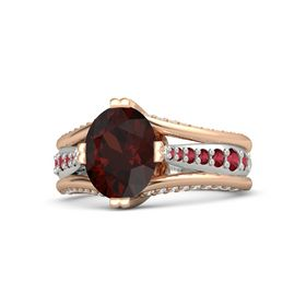 Oval Red Garnet 14K Rose Gold Ring with Ruby and White Sapphire