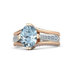 Oval Aquamarine 14K Rose Gold Ring with Blue Topaz and Iolite
