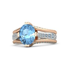 Oval Blue Topaz 14K Rose Gold Ring with Blue Topaz and London Blue Topaz