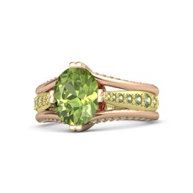 Oval Peridot 14K Rose Gold Ring with Peridot
