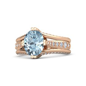 Oval Aquamarine 14K Rose Gold Ring with Diamond