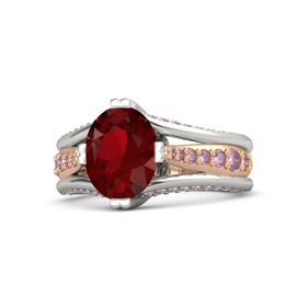 Oval Ruby 14K White Gold Ring with Pink Sapphire