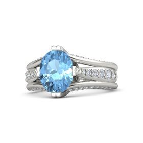 Oval Blue Topaz 14K White Gold Ring with Diamond